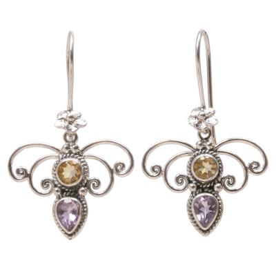 Citrine and amethyst dangle earrings, 'Manggar Flowers' - Citrine and Amethyst Spiral Dangle Earrings from Bali
