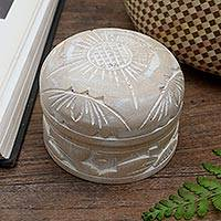 Mahogany decorative box, 'Bougainvillea Bloom' - Hand Carved Floral Mahogany Decorative Box from Bali