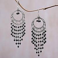 Onyx chandelier earrings, 'Raining Dreamcatchers' - Circular Black Onyx Chandelier Earrings from Indonesia