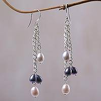 Cultured pearl waterfall earrings, 'Holy Droplets' - Cultured Pearl and Sterling Silver Waterfall Earrings