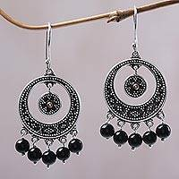 Gold accented onyx chandelier earrings, 'Dotted Moons' - Gold Accent Black Onyx Chandelier Earrings from Indonesia