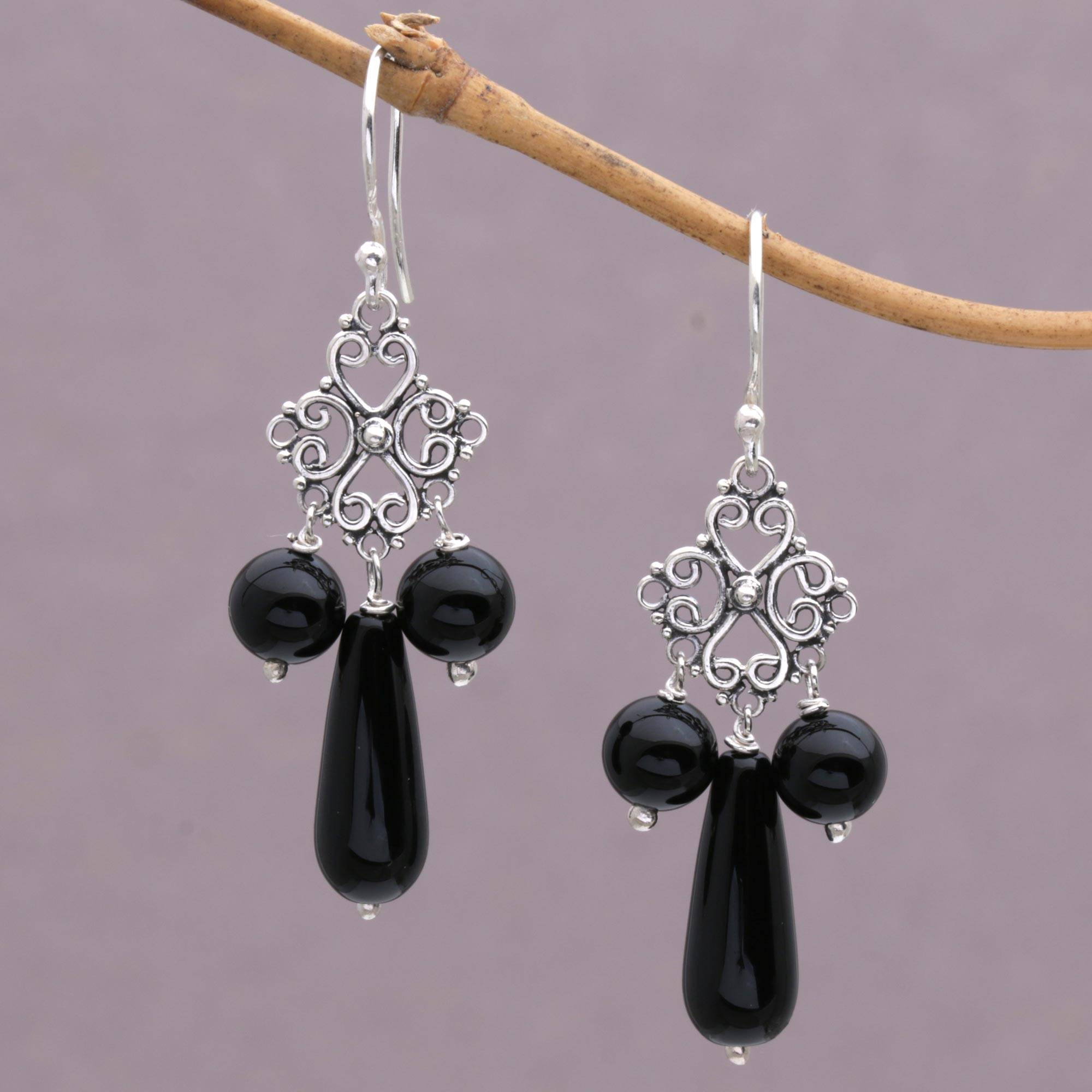 Onyx and sterling silver chandelier earrings from indonesia black onyx and sterling silver chandelier earrings from indonesia black droplets novica arubaitofo Gallery