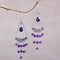 Amethyst chandelier earrings, 'Nyepi Night' - Amethyst and Sterling Silver Earrings by Bali Artisans