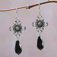 Onyx dangle earrings, 'Black Bali Drops' - Sterling Silver and Black Onyx Handcrafted Dangle Earrings