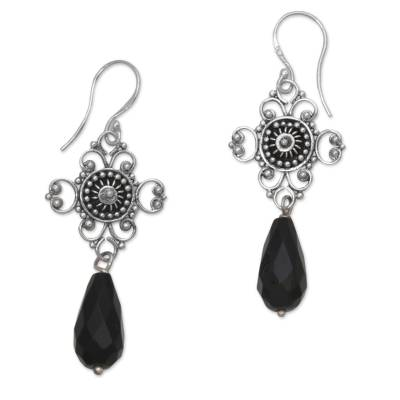 Sterling Silver and Black Onyx Handcrafted Dangle Earrings