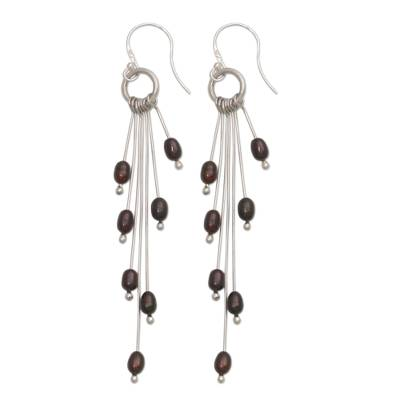 Cultured Pearl and Sterling Silver Dangle Earrings