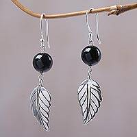 Onyx dangle earrings, 'Lucky Manggis' - Black Onyx Leaf Dangle Earrings from Indonesia