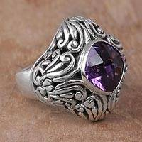 Amethyst cocktail ring, 'Purple Glitz' - Amethyst and Sterling Silver Cocktail ring from Indonesia