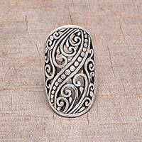 Sterling silver band ring, 'Balinese Shield'