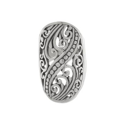 Sterling silver band ring, 'Balinese Shield' - Hand Crafted Sterling Silver Openwork Ring from Indonesia