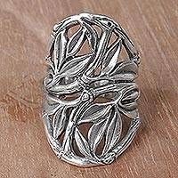 Sterling silver cocktail ring, 'Bamboo Shield' - Hand Crafted Sterling Silver Openwork Ring from Indonesia
