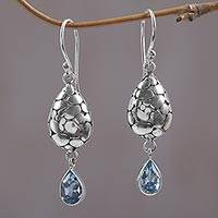 Blue topaz dangle earrings, 'Purest Drop' - Blue Topaz Sterling Silver Earrings Handcrafted in Bali