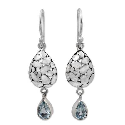 Blue Topaz Sterling Silver Earrings Handcrafted in Bali