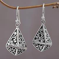 Sterling silver dangle earrings, 'Unfolding Nirvana' - Swirling Balinese Motif Handcrafted Sterling Silver Earrings