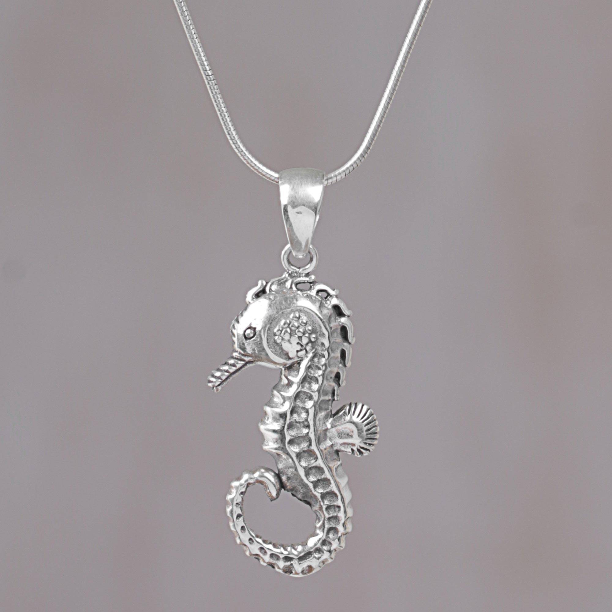 necklace seahorse glass by pendant pendants sea jewelry secrets