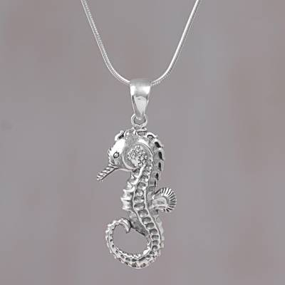 Sterling silver pendant necklace, 'Brilliant Seahorse' - Sterling Silver Seahorse Pendant Necklace from Indonesia