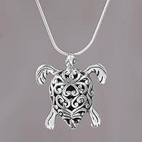 Sterling silver pendant necklace, 'Tremendous Turtle' - Sterling Silver Turtle Pendant Necklace from Indonesia