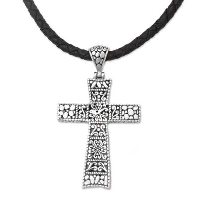 Sterling silver pendant necklace, 'Almighty Cross' - Engraved Sterling Silver & Leather Cross Necklace from Bali