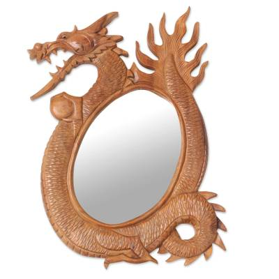 Mirror, 'Dragon Reflection' - Hand Carved Wood Wall Mirror with a Balinese Dragon