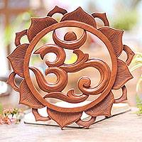 Wood relief panel, 'Om Petals' - Hand Carved Wood Floral Lotus Om Relief Panel from Bali