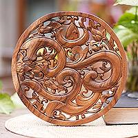 Wood relief panel, 'Binding Om' - Hand Carved Om Symbol Wood Relief Panel from Bali