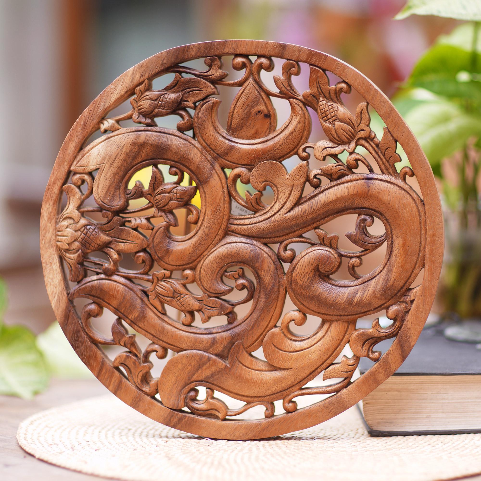 Brown Om Petals NOVICA Floral Om Meditation Wood Relief Wall Sculpture