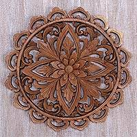 Wood relief panel, 'Temple of the Flower' - Hand Carved Wood Floral Relief Panel from Bali
