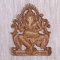 Wood relief panel, 'Ganesha's Throne' - Hand Carved Balinese Suar Wood Ganesha Hindu Relief Panel