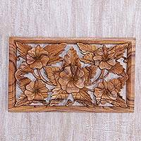 Wood relief panel, 'Shoe Flowers' - Hand Carved Shoe Flower Wood Wall Relief Panel from Bali