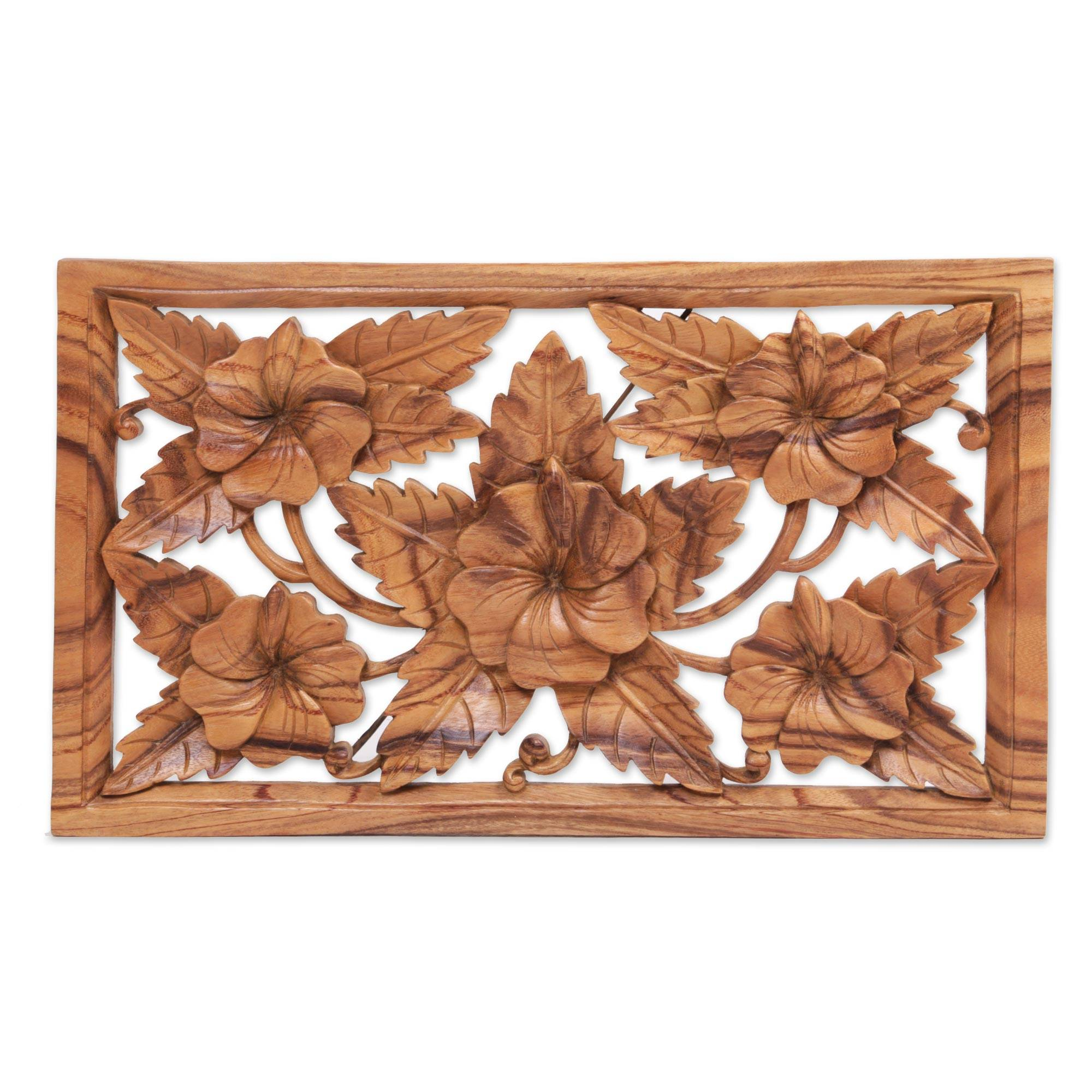 Unicef market hand carved shoe flower wood wall relief panel