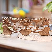 Wood relief panel, 'Lily Blossom' - Indonesian Hand Carved Lily Flower Wood Wall Relief Panel