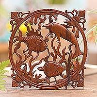 Wood relief panel, 'Life of the Sea'