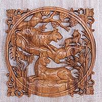 Wood relief panel, 'Family Roar' - Hand Carved Suar Wood Relief Wall Panel of Tigers from Bali
