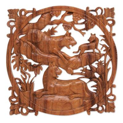 Hand Carved Suar Wood Relief Wall Panel of Tigers from Bali