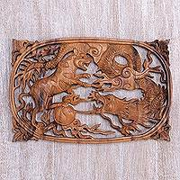 Wood relief panel, 'Zodiac Duel' - Suar Wood Relief Wall Panel of Tiger and Dragon from Bali