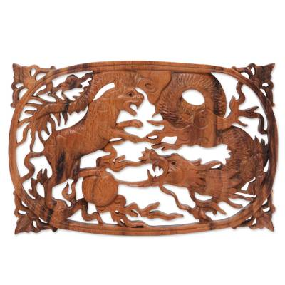 Suar Wood Relief Wall Panel of Tiger and Dragon from Bali