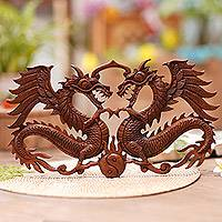 Wood wall relief, 'Bestial Balance' - Hand Carved Dragon Duo Wood Wall Relief Panel from Indonesia