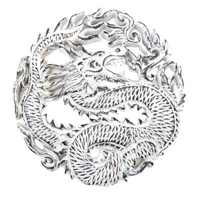 Wood relief panel, 'Antaboga Rage' - Circular Dragon Suar Wood Wall Relief Panel from Indonesia
