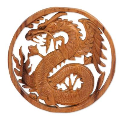Suar Wood Wall Relief Panel of a Dragon from Indonesia