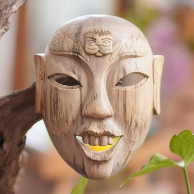 Hibiscus wood mask, 'Happy Balinese' - Hand Carved Hibiscus Wood Wall Mask from Indonesia