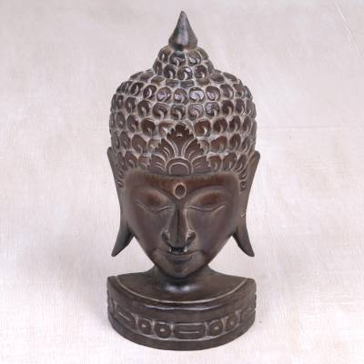 Wood sculpture, 'Peaceful Soul' - Albesia Wood Sculpture of Buddha from Indonesia