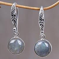 Labradorite dangle earrings, 'Purity of Moonlight' - Sterling Silver Earrings Labradorite Handcrafted in Bali