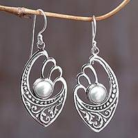 Cultured pearl dangle earrings, 'White Wings' - White Cultured Pearls on Sterling Silver Balinese Earrings