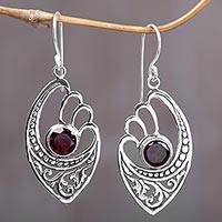 Garnet dangle earrings, 'Red Wings' - 2 Carats Garnet and Sterling Silver Balinese Earrings