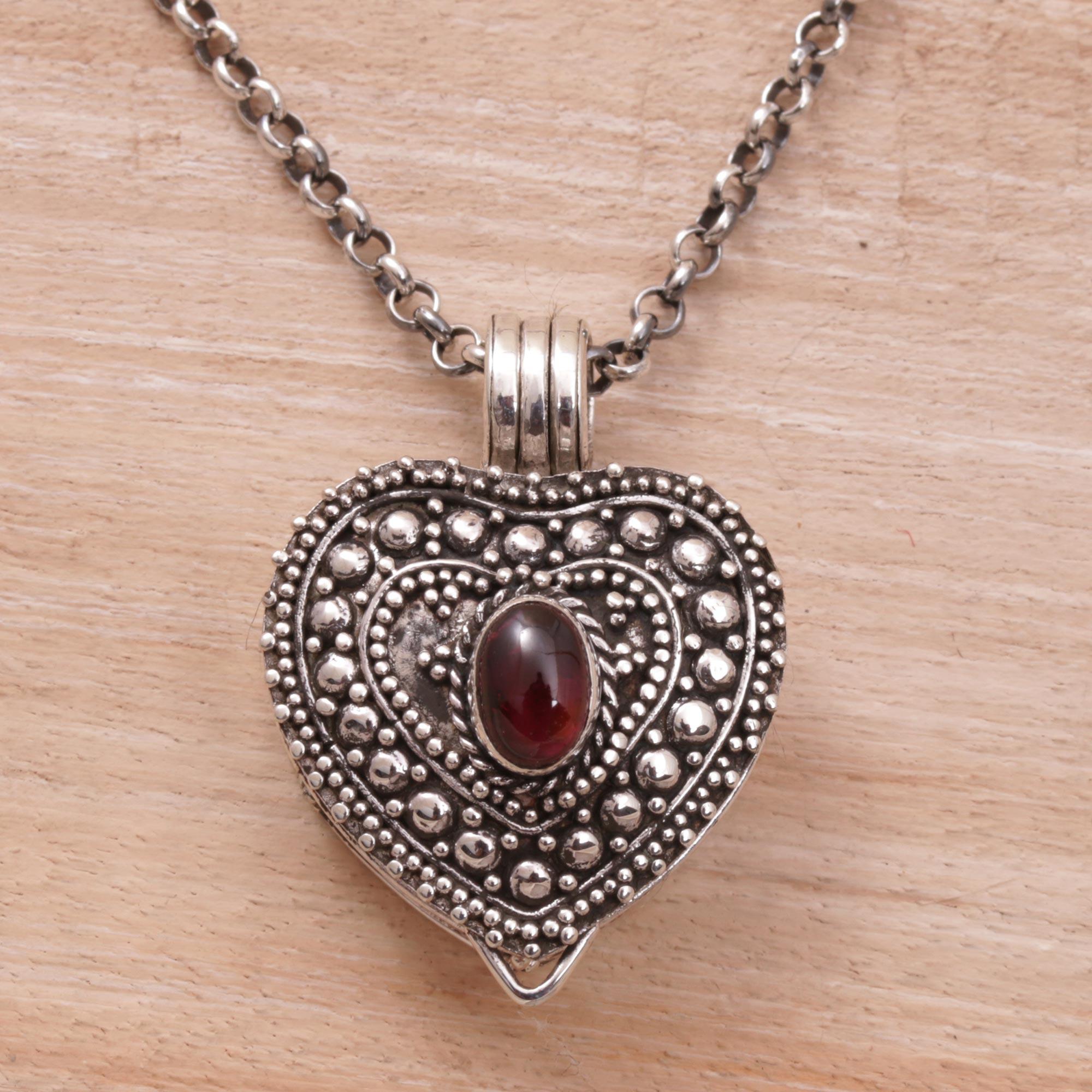 497e2529e4369 Garnet and Sterling Silver Heart Locket Necklace, 'Garnet Love'