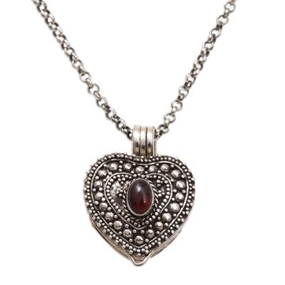 Garnet locket necklace, 'Garnet Love' - Garnet and Sterling Silver Heart Locket Necklace