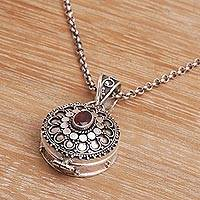Garnet locket necklace, 'Garnet Legacy' - Sterling Silver and Garnet Locket Necklace