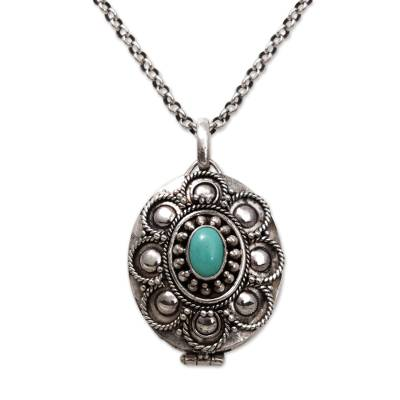 Sterling silver locket necklace, 'Island Bloom' - Sterling Silver and Reconstituted Turquoise Locket Necklace