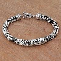 Sterling silver braided bracelet, 'Floral Dragon'