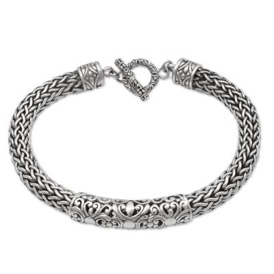 Artisan Crafted Braided Chain Floral Sterling Silver Pendant Bracelet